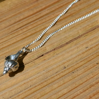 Whelk shell pewter pendant necklace with sterling silver chain
