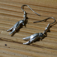 Crab claw pewter earrings