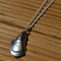 Mussel shell pewter pendant necklace with sterling silver chain