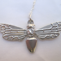 Large pewter bee pendant necklace with sterling silver chain