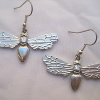 Large pewter bee earrings