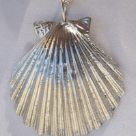 Large scallop shell pewter pendant necklace with sterling silver chain