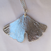 Ginko leaf pewter pendant necklace with sterling silver chain