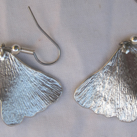 Ginko leaf pewter earrings