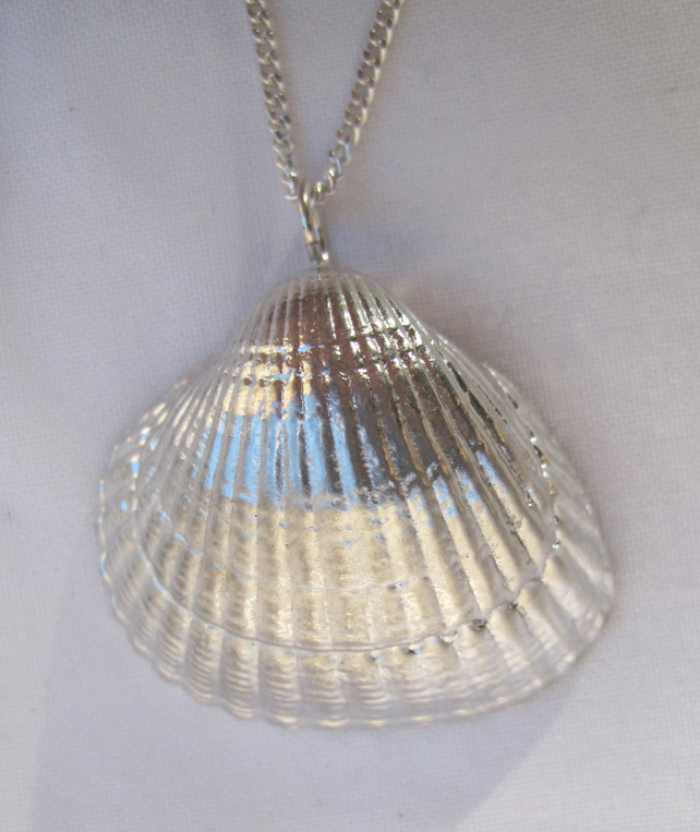 Cockle shell pewter pendant necklace with sterling silver chain