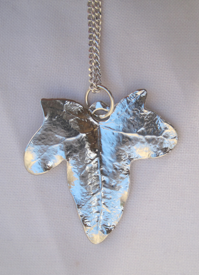 Ivy leaf pewter pendant necklace with sterling silver chain