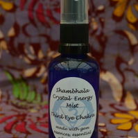 Third Eye Chakra Crystal Energy Mist with Gem Essence and Essential Oils