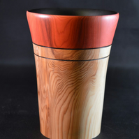 English Yew Wood Tall Vase with pyrography and stained finish handturned