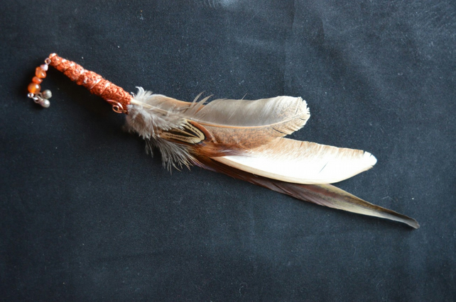 Ceremonial Smudge Fan handcrafted with cruelty free feathers (naturally molted)