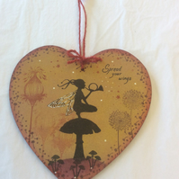 Night watch - magical fairy mdf heart