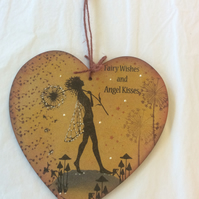 Make a wish - magical fairy mdf heart