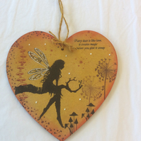 Luna tree goddess - magical fairy mdf heart