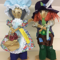 Lady and man corndollies