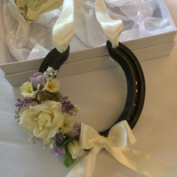 Real decorated ivory wedding horseshoe in luxury gift box