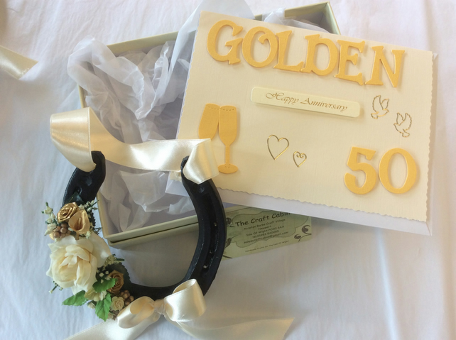 Real decorated 50th golden wedding anniversary horseshoe in a box and card set.