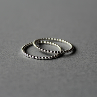 SALE - Beaded silver stacking rings