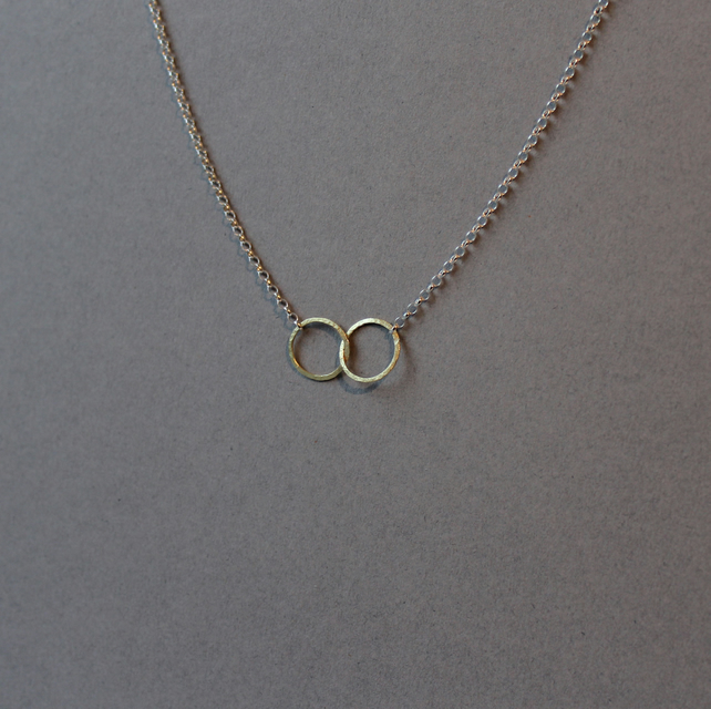 Silver and 18ct gold Linked Halo necklace
