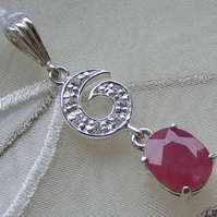 Sterling Silver Pendant & Chain featuring Natural Ruby & Simulated Diamonds