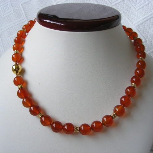 Sterling Silver Vermeil Necklace Superb AAA Grade Carnelian with Magnetic Clasp