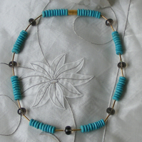 Necklace in Sterling Silver Vermeil with Howlite Turquoise & Smoky Quartz Gems