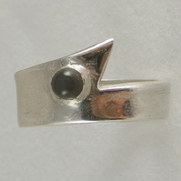 Ring in Fine Silver featuring Grey Moonstone HANDMADE Hallmarked