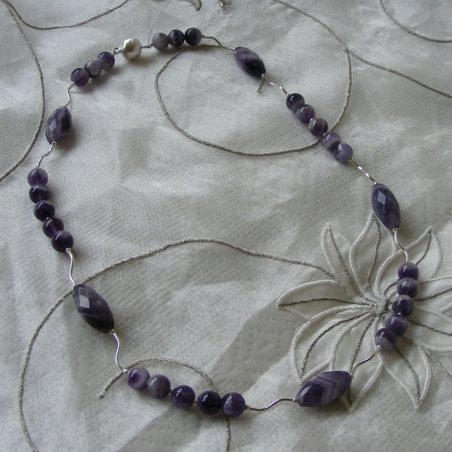 African Amethyst Sterling Silver Necklace & Magnetic Clasp