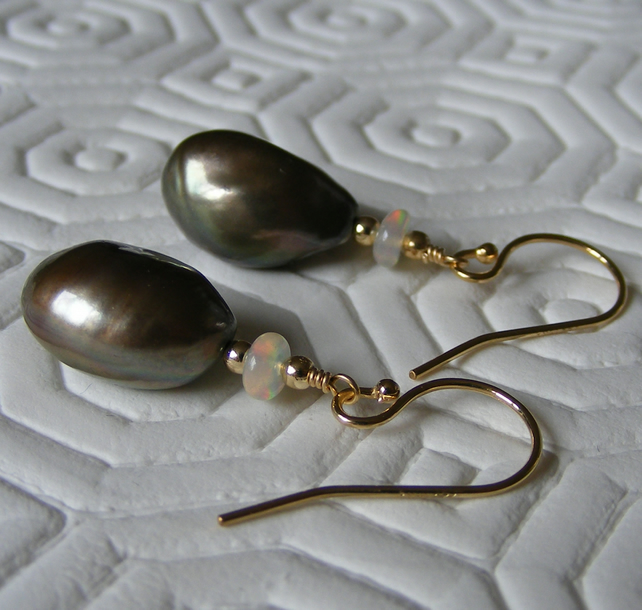 14ct Gold Filled Earrings with Pewter Freshwater Pearl & Precious Ethiopian Opal