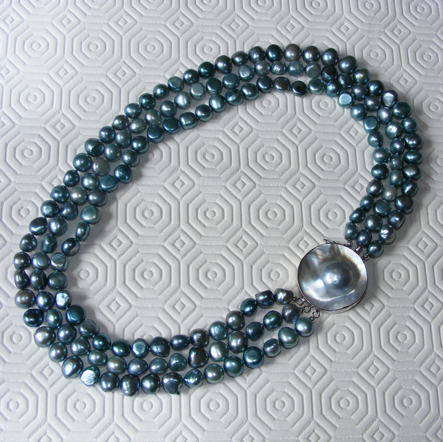 Statement Sterling Silver Necklace with three strands of Teal Freshwater Pearls