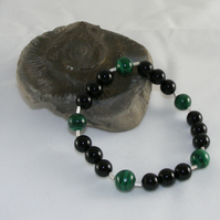 Stretch Bracelet with Vintage Malachite and Black Onyx & 925 Sterling Silver