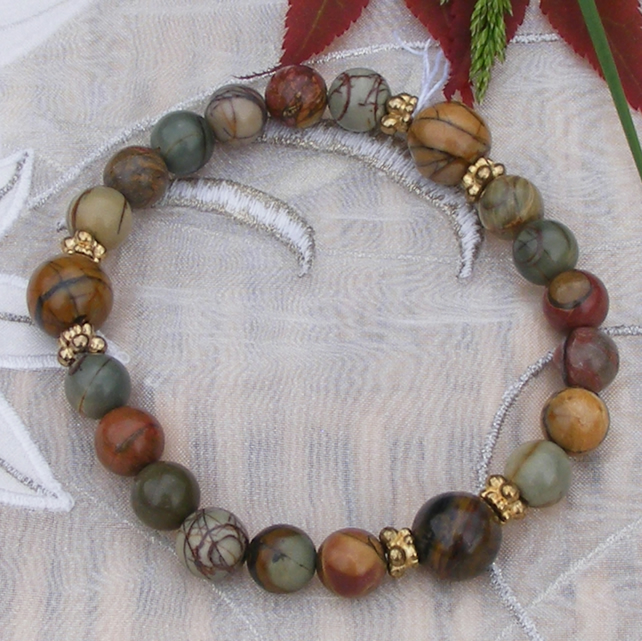 Stretch Bracelet in Lovely Picasso Jasper and Gold Vermeil