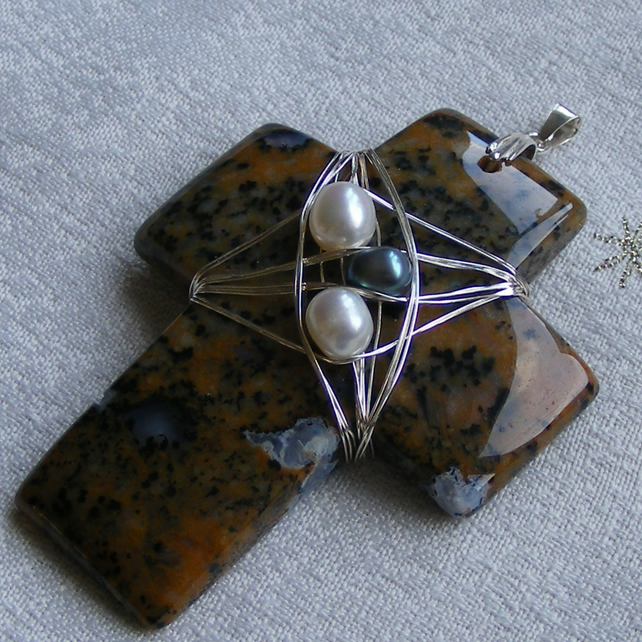 Pendant in Sterling Silver with a Wood Opal Gem Cross Wire Wrapped with Pearls