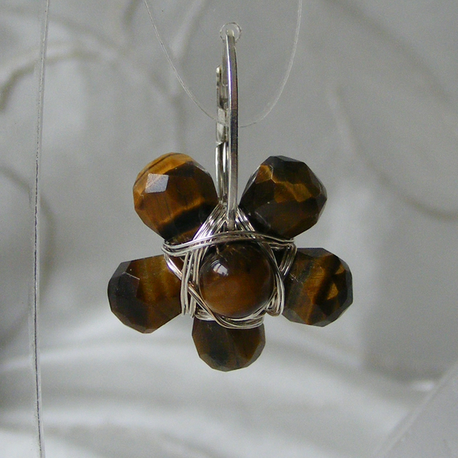 Sterling Silver Flower Hoop Earrings with Pretty Wire Wrapped Tigers Eye gems