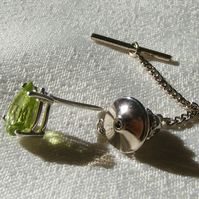 Tie Pin or Tack featuring Superb Natural Peridot in Sterling Silver