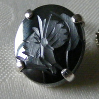 Tie Pin or Tack in Silver Featuring A Carved gemstone Haematite Centurion