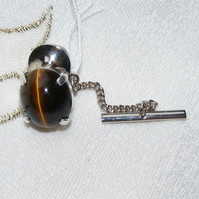 Tie Pin or Tack in Sterling Silver featuring Outstanding Natural Tigers Eye Cab