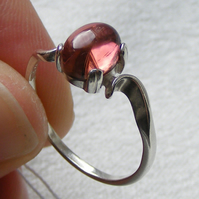 Ring in Sterling Silver featuring Feminine Rubelite or Pink Tourmaline