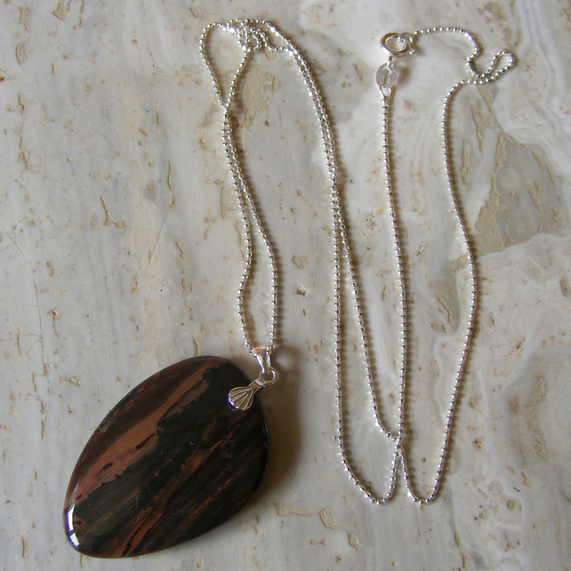Sterling Silver Pendant and Chain set with a Super Jasper gemstone