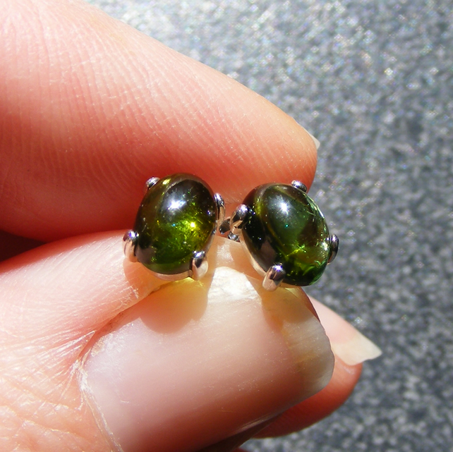 Sterling Silver Stud Earrings with pretty Tourmaline 7x5mm Gemstones - Verdite