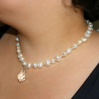 Necklace in Sterling Silver with Baroque Freshwater Pearls & Swarovski® Elements