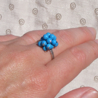 Ring in Sterling Silver with Turquoise Cluster Charms - UK Size Q