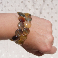 Two Stretch Bracelets with Lovely Green and Yellow Fluorite