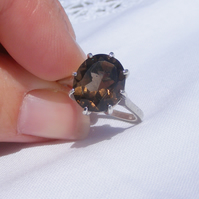 Sterling Silver Ring set with an oval cut Smoky Quartz Gemstone UK Size N