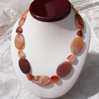 Necklace in Sterling Silver Vermeil With Large Carnelian Oval Gems