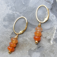 Hoop Style Earrings in Sterling Silver with faceted Agate Gemstone dangles