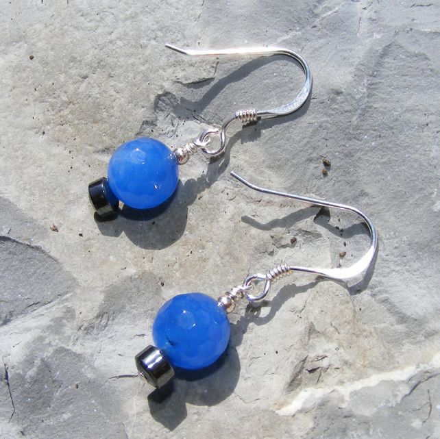 Earrings in Sterling Silver with Blue Jade and Haematite dangle drops