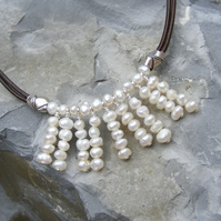 Necklace in Sterling Silver with Leather and Cultured Fresh Water Pearl Fringe