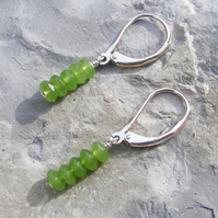 Drop Earrings in Sterling Silver Featuring Vibrant Green Jade Gemstones