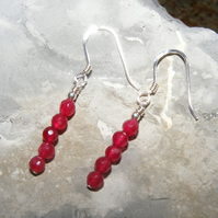 Drop Earrings in Sterling Silver With Red Jade Gemstones