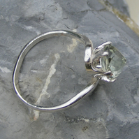 Ring in Sterling Silver set with Prasiolite or Green Amethyst Gemstone