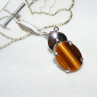 Tie Pin or Tack in Sterling Silver featuring Classic Tigers Eye